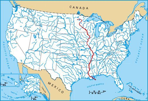 Us Map With Mississippi River Highlighted The Route | Paddlin' Madeline